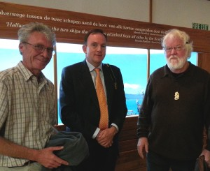 Ambassador Rob Zaagman (centre) at Golden Bay Museum on 12 October, with researchers Dave Horry (L) and Robert Jenkin (R), creator of the diorama behind them.
