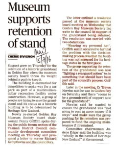 Mail--15 July 2106--re grandstand support